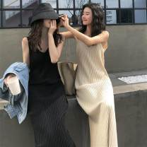 Dress Spring 2020 Apricot, black Average size longuette singleton  Sleeveless commute V-neck Solid color Socket A-line skirt camisole 18-24 years old Type H Other / other Korean version BYW243 31% (inclusive) - 50% (inclusive) knitting polyester fiber