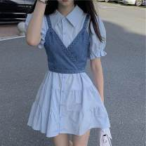 Dress Summer 2020 Dark blue sling, light blue sling, white skirt, blue skirt Average size Middle-skirt singleton  Short sleeve commute Polo collar Loose waist Solid color Single breasted routine 18-24 years old Korean version 30% and below