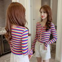 T-shirt Red stripe, pink stripe S,M,L,XL,2XL Autumn of 2019 Long sleeves V-neck Self cultivation routine commute other 96% and above 25-29 years old Korean version Thin horizontal stripe Ding Yali hc2269