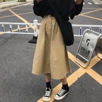 skirt Spring of 2019 S,M,L Khaki, army green longuette commute High waist A-line skirt Solid color 18-24 years old 91% (inclusive) - 95% (inclusive) other Other / other polyester fiber Korean version