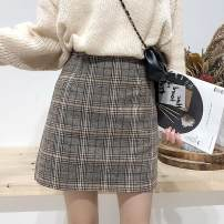 skirt Winter of 2018 S,M,L,XL Check pattern Short skirt commute High waist A-line skirt lattice Type A 18-24 years old 51% (inclusive) - 70% (inclusive) Other / other polyester fiber zipper Korean version