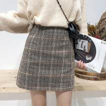 skirt Winter of 2018 S,M,L,XL Check pattern Short skirt commute High waist A-line skirt lattice Type A 18-24 years old 51% (inclusive) - 70% (inclusive) Other / other polyester fiber zipper Korean version