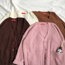 sweater Winter 2017 Average size Naked pink off white light brown dark brown Long sleeves Cardigan singleton  Medium length other 95% and above V-neck Regular commute routine Solid color Straight cylinder Regular wool Keep warm and warm 18-24 years old Pocket button Single breasted