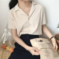 shirt White, apricot, light west red Average size Summer of 2018 polyester fiber 96% and above Short sleeve Versatile Regular tailored collar Solid color 18-24 years old