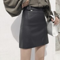 skirt Fall 2017 S, M Black, naked pink, naked pink limited rush, black limited rush Short skirt commute High waist A-line skirt Solid color Type A 18-24 years old Korean version