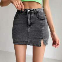 skirt Summer 2020 XS,S,M,L Light blue, dark blue, smoke gray Short skirt street High waist skirt Solid color Type A 18-24 years old 81% (inclusive) - 90% (inclusive) cotton Pocket, zipper Europe and America