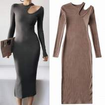 Dress Spring 2021 Black, dark grey, brown S, M Mid length dress singleton  Long sleeves street Crew neck High waist Solid color Socket One pace skirt routine 25-29 years old Type H Hollow out, threaded 81% (inclusive) - 90% (inclusive) knitting cotton Europe and America