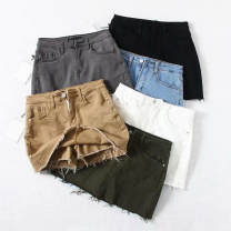 skirt Autumn of 2019 XS,S,M,L,XL Short skirt street High waist Denim skirt Solid color Type A 18-24 years old 71% (inclusive) - 80% (inclusive) Denim cotton Pocket, button Europe and America