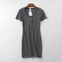 Dress Summer of 2019 S, M Short skirt singleton  Short sleeve street Crew neck High waist stripe Single breasted One pace skirt routine Others Type H Thread, button More than 95% knitting cotton Europe and America