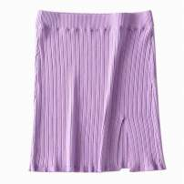 skirt Summer 2020 S, M Black, purple, blue, green Short skirt street High waist skirt Solid color Type O 18-24 years old 91% (inclusive) - 95% (inclusive) knitting cotton thread Europe and America