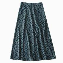 skirt Summer 2020 S,M,L Yellow, green Mid length dress street High waist A-line skirt Decor Type A 18-24 years old 91% (inclusive) - 95% (inclusive) Chiffon Cellulose acetate printing Europe and America