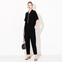 Women's large Summer 2021 2XL (size 42-44), 4XL (size 46-48), 6xl (size 50), l (size 38-40) trousers singleton  commute moderate Cardigan Short sleeve Korean version Polo collar other April 9th 25-29 years old