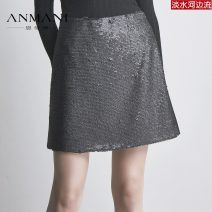 skirt Winter of 2018 S,M,L,XL black Short skirt Rococo Natural waist A-line skirt Type A 25-29 years old K3661203 More than 95% Anmani / enmanlin other Sequins