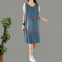 Dress Summer 2021 Blue, brown Average size longuette singleton  Sleeveless commute V-neck Loose waist Solid color Socket A-line skirt straps cotton