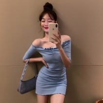 Dress Spring 2021 White, blue, black Average size Short skirt singleton  elbow sleeve commute One word collar High waist Solid color Socket Pencil skirt routine Others lady 51% (inclusive) - 70% (inclusive) cotton