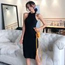 Dress Summer 2021 Gray, black Average size Mid length dress singleton  commute High waist Solid color Socket One pace skirt Retro 51% (inclusive) - 70% (inclusive)