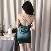 Dress Spring 2021 Green, black Average size Short skirt singleton  Sleeveless commute V-neck Solid color Socket camisole 51% (inclusive) - 70% (inclusive) cotton