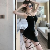 Dress Summer 2021 black S,M,L Short skirt singleton  Sleeveless street High waist Solid color Socket One pace skirt camisole 18-24 years old 51% (inclusive) - 70% (inclusive) other other