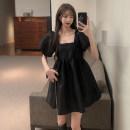 Dress Summer 2021 black S, M Short skirt singleton  Short sleeve commute square neck High waist Solid color Socket Princess Dress puff sleeve Others Retro 51% (inclusive) - 70% (inclusive) cotton