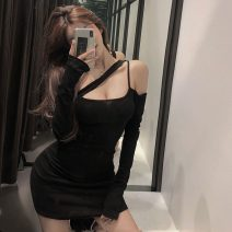 Dress Spring 2021 Gray, black Average size Short skirt singleton  Long sleeves commute One word collar High waist Solid color Socket One pace skirt routine Hanging neck style Korean version M749 51% (inclusive) - 70% (inclusive) cotton