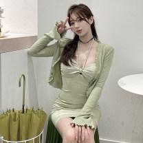 Fashion suit Summer 2021 S. M, average size Sun shirt, suspender skirt 51% (inclusive) - 70% (inclusive) cotton