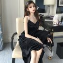 Dress Spring 2021 black Average size longuette singleton  Long sleeves commute V-neck High waist Solid color Socket other other camisole 18-24 years old Other / other Korean version 31% (inclusive) - 50% (inclusive) other