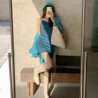 Fashion suit Spring 2021 S. M, l, average size Water lake blue shirt, suspender skirt 51% (inclusive) - 70% (inclusive)