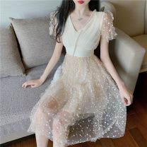 Dress Summer 2021 Apricot S, M Middle-skirt singleton  Short sleeve Sweet V-neck High waist Dot Socket other other Others Type A 51% (inclusive) - 70% (inclusive) other other princess