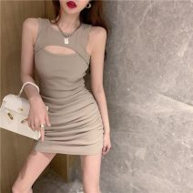 Dress Summer 2021 Khaki, black Average size Short skirt singleton  Sleeveless commute Crew neck middle-waisted Solid color Socket Pencil skirt Others 51% (inclusive) - 70% (inclusive) cotton