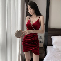 Dress Spring 2021 Red, black S,M,L,XL Short skirt singleton  Sleeveless commute V-neck middle-waisted Solid color Socket Irregular skirt camisole 51% (inclusive) - 70% (inclusive) cotton