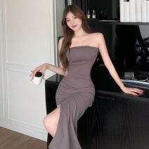 Dress Summer 2021 Gray, black Average size longuette singleton  Sleeveless commute One word collar High waist Solid color Socket One pace skirt Breast wrapping M1044 51% (inclusive) - 70% (inclusive) cotton