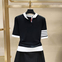 T-shirt black 2 = s, 3 = m, 4 = L, 5 = XL Summer 2021 Short sleeve Polo collar Self cultivation Regular routine commute cotton 96% and above Korean version youth O'amash banner