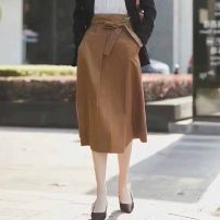 skirt Summer 2021 1 / XS, 2 / s, 3 / m, 4 / L, 5 / XL khaki Middle-skirt commute Natural waist A-line skirt Solid color Type A 51% (inclusive) - 70% (inclusive) O'amash banner cotton Ol style