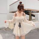 Dress Summer of 2019 S,M,L Middle-skirt singleton  Long sleeves Sweet Socket Princess Dress 18-24 years old Type X 71% (inclusive) - 80% (inclusive) Chiffon polyester fiber princess