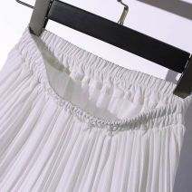 skirt Summer of 2018 Average size Black, white commute High waist Cake skirt Solid color Type A 18-24 years old Chiffon other Ruffles, folds Korean version