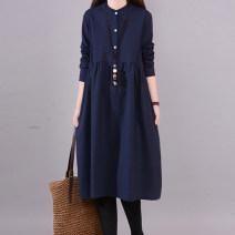 Dress Spring of 2019 Navy, khaki, pink M,L,XL,2XL Mid length dress singleton  Long sleeves stand collar