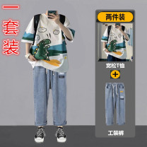 Leisure sports suit summer M,L,XL,2XL,3XL elbow sleeve Other / other trousers teenagers T-shirt D802 cotton 2021 cotton