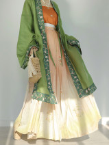 National costume / stage costume Summer 2020 One sand green full edge embroidered long skirt, one orange red main waist sling, one pink purple main waist sling, one printing gradient skirt and one clove full edge embroidered long skirt S,M,L