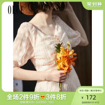 Dress Summer of 2019 Rice noodles XS S M L Short skirt singleton  Short sleeve commute V-neck High waist Dot Socket puff sleeve 25-29 years old Oece lady More than 95% Chiffon polyester fiber Polyester 100% Same model in shopping mall (sold online and offline)