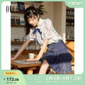 skirt Summer 2021 XS S M L Navy skirt color top Short skirt commute High waist Pleated skirt Solid color 25-29 years old 2I2HS103 Oece lady Same model in shopping mall (sold online and offline)