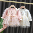 Dress female Other / other 73cm,80cm,90cm,100cm,110cm Cotton 80% polyester 20% spring and autumn princess Long sleeves Solid color cotton A-line skirt stand gracefully erect other 3 months, 12 months, 6 months, 9 months, 18 months, 2 years old, 3 years old, 4 years old Chinese Mainland Ningbo City