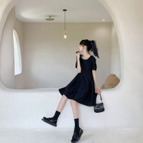 Dress Summer 2020 black M, L Mid length dress singleton  Short sleeve commute Crew neck High waist Solid color other routine Others 18-24 years old Type X Korean version More than 95% Crepe de Chine cotton
