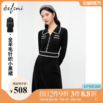 Dress Winter 2020 Black spot black pre-sale black pre-sale 1 Black pre-sale 11 155/80A/S 160/84A/M 165/88A/L Mid length dress singleton  Long sleeves commute Polo collar High waist Solid color Socket One pace skirt other 25-29 years old Type X Eifini  Ol style 1BA998541 More than 95% wool Wool 100%