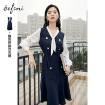 Dress Summer 2021 155/80A/S 160/84A/M 165/88A/L 170/92A/XL longuette singleton  Long sleeves commute V-neck High waist Solid color double-breasted Others 25-29 years old Type X Eifini  lady Button More than 95% polyester fiber Polyester 100% Same model in shopping mall (sold online and offline)