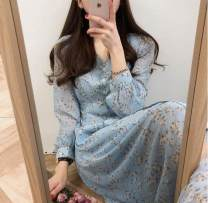 Dress Autumn of 2019 White, blue S,M,L,XL Mid length dress singleton  Long sleeves commute V-neck Decor Other / other lady