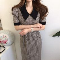 Dress Spring 2020 Picture color S,M,L singleton  Short sleeve commute High waist lattice 18-24 years old Other / other Korean version