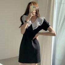 Dress Spring 2021 black S,M,L Short skirt singleton  Short sleeve V-neck High waist Solid color puff sleeve Type A