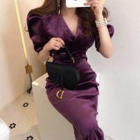 Dress Spring 2020 Purple, black S,M,L singleton  Long sleeves commute V-neck 18-24 years old Korean version