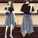 Women's large Summer 2021 Suit, top, skirt Large XL, large XXL, large XXL, large XXXXL, large L Other oversize styles Two piece set commute easy moderate Socket Short sleeve Solid color lady other routine Denim Three dimensional cutting other 25-29 years old Medium length Irregular skirt