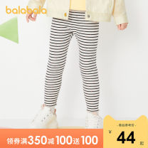 trousers Bala female 90cm 100cm 110cm 120cm White and black 00419 light grey 00205 coffee 50833 pink green 40305 pink 60055 spring and autumn trousers leisure time There are models in the real shooting Leggings Leather belt middle-waisted Cotton blended fabric Don't open the crotch other Spring 2021